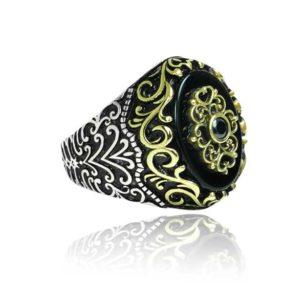 Natural Black Yemeni Agate Stone 925 Sterling Silver Ring
