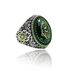 Special Design green Zircon Stone Inlaid With emerald Stone 925 Sterling Silver Ring