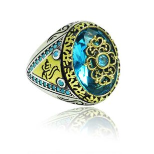 Special Design blue Zircon Stone Inlaid With Fayrouz  Stone 925 Sterling Silver Ring