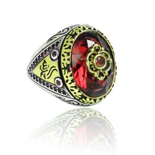 Special Design red Zircon Stone Inlaid With Ruby  Stone 925 Sterling Silver Ring