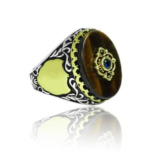 Special Design Natural Tiger Eye Stone 925 Sterling Silver Ring