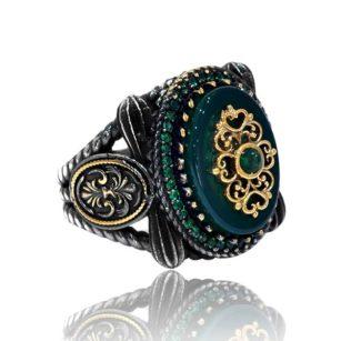 Yemeni Green Agate Stone 925 Silver Men's Ring