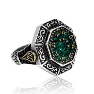Emerald Stone 925 Sterling Silver Men's Ring