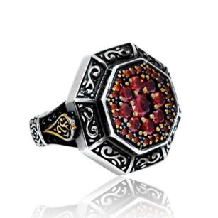 Ruby Stone 925 Sterling Silver Men's Ring