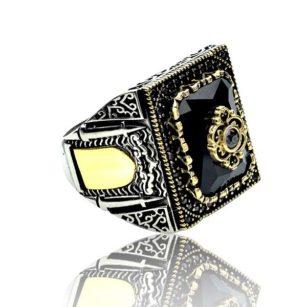 Black Zircon Stone  925 Sterling Silver Men's Ring