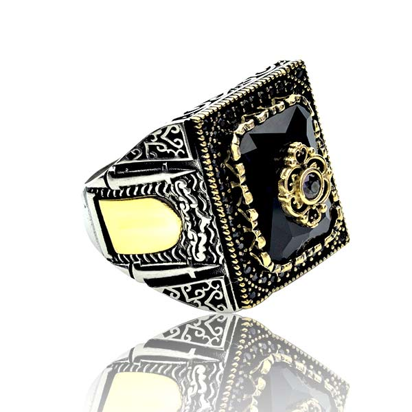 Black Zircon Stone  925 Sterling Silver Men's Ring
