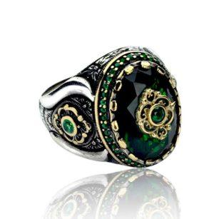 Green Zircon Stone  925 Sterling Silver Men's Ring