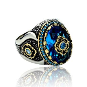 Blue Zircon Stone  925 Sterling Silver Men's Ring