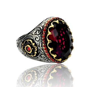 Red Zircon Stone  925 Sterling Silver Men's Ring